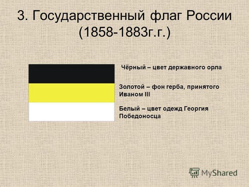 3. Государственный флаг России (1858-1883 г.г.) Чёрный – цвет державного орла Золотой – фон герба, принятого Иваном III Белый – цвет одежд Георгия Победоносца