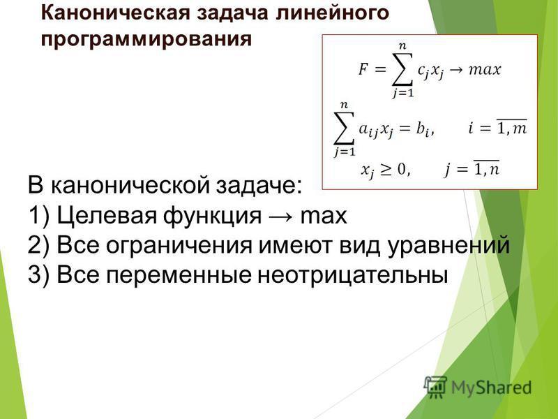 В канонической задаче: 1) Целевая функция max 2) Все ограничения имеют вид уравнений 3) Все переменные неотрицательны