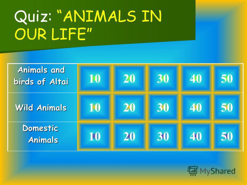 Animals and Animals and birds of Altai birds of Altai Wild Animals Wild Animals Domestic Domestic Animals Animals 1020 10 20 30 40 50 Quiz: ANIMALS IN OUR LIFE