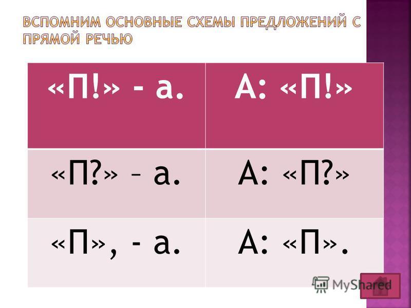 «П!» - а.А: «П!» «П?» – а.А: «П?» «П», - а.А: «П».