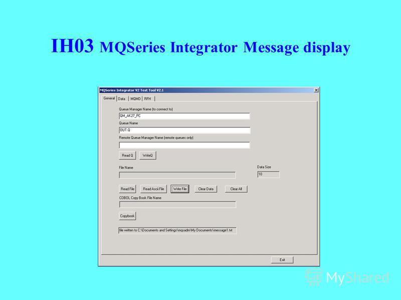 IH03 MQSeries Integrator Message display