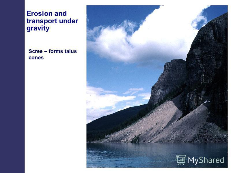 Scree – forms talus cones Erosion and transport under gravity