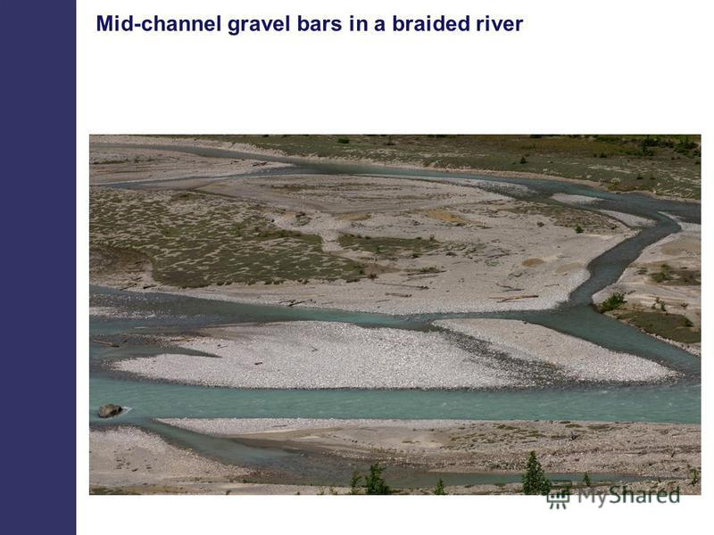 Mid-channel gravel bars in a braided river