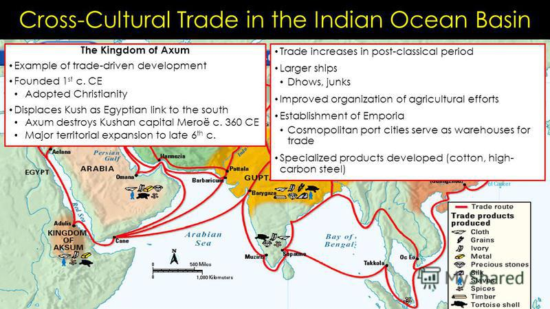 Cross-Cultural Trade in the Indian Ocean Basin The Kingdom of Axum Example of trade-driven development Founded 1 st c. CE Adopted Christianity Displaces Kush as Egyptian link to the south Axum destroys Kushan capital Meroë c. 360 CE Major territorial
