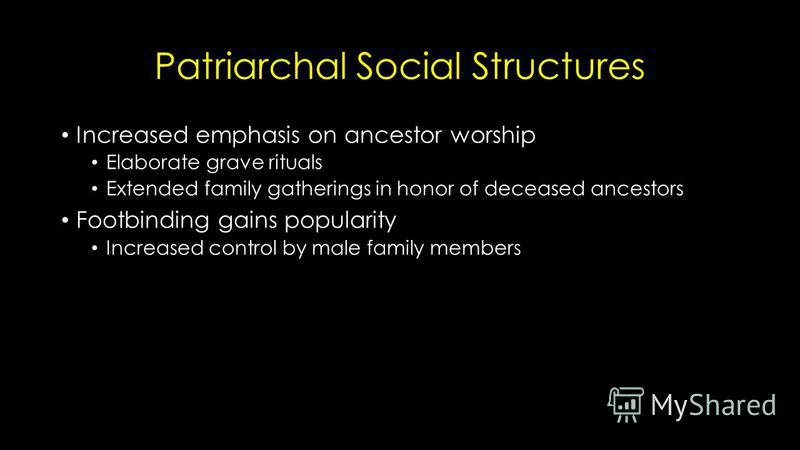 Patriarchal Social Structures Increased emphasis on ancestor worship Elaborate grave rituals Extended family gatherings in honor of deceased ancestors Footbinding gains popularity Increased control by male family members