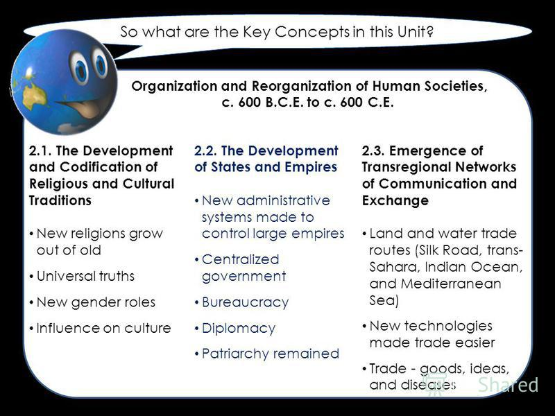 So what are the Key Concepts in this Unit? 2.1. The Development and Codification of Religious and Cultural Traditions New religions grow out of old Universal truths New gender roles Influence on culture 2.2. The Development of States and Empires New