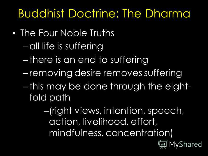 Buddhist Doctrine: The Dharma The Four Noble Truths – all life is suffering – there is an end to suffering – removing desire removes suffering – this may be done through the eight- fold path – (right views, intention, speech, action, livelihood, effo