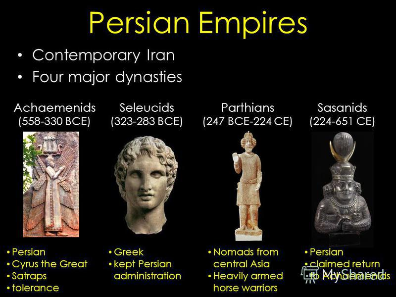 Persian Empires Contemporary Iran Four major dynasties Achaemenids (558-330 BCE) Seleucids (323-283 BCE) Parthians (247 BCE-224 CE) Sasanids (224-651 CE) Persian Cyrus the Great Satraps tolerance Greek kept Persian administration Nomads from central