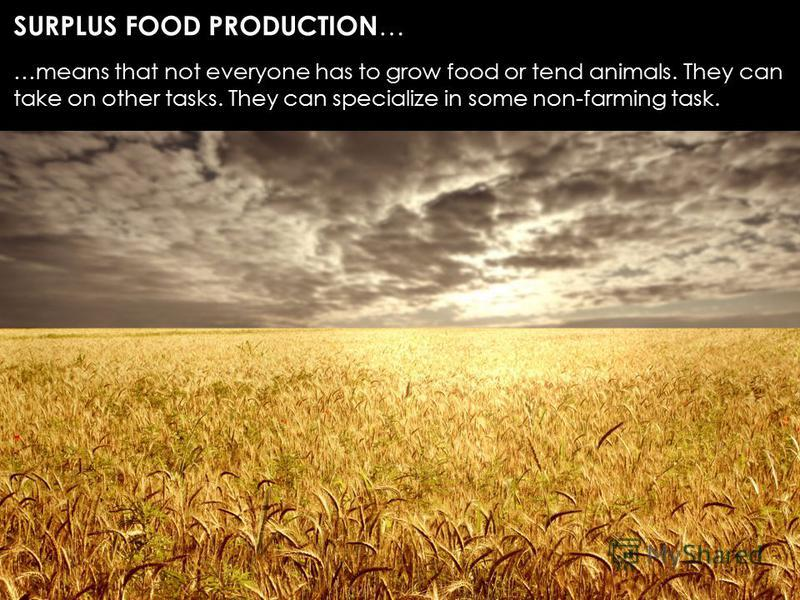 SURPLUS FOOD PRODUCTION … …means that not everyone has to grow food or tend animals. They can take on other tasks. They can specialize in some non-farming task.