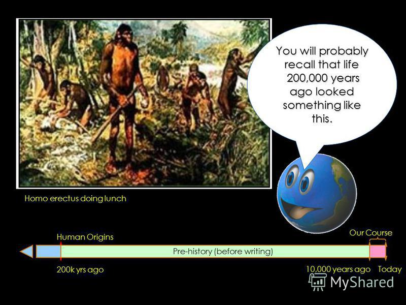 200k yrs ago Human Origins Today10,000 years ago Pre-history (before writing) Our Course Homo erectus doing lunch You will probably recall that life 200,000 years ago looked something like this.