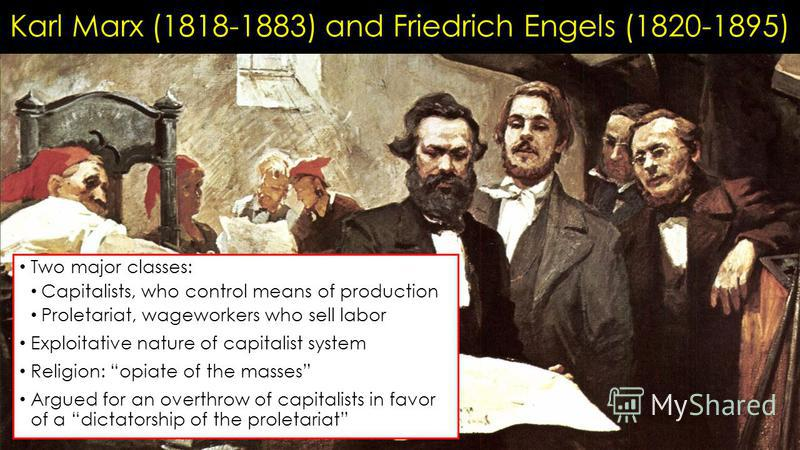 Karl Marx (1818-1883) and Friedrich Engels (1820-1895) Two major classes: Capitalists, who control means of production Proletariat, wageworkers who sell labor Exploitative nature of capitalist system Religion: opiate of the masses Argued for an overt