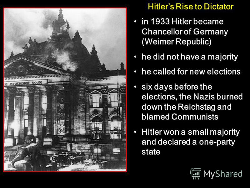 Hitlers Rise to Dictator in 1933 Hitler became Chancellor of Germany (Weimer Republic) he did not have a majority he called for new elections six days before the elections, the Nazis burned down the Reichstag and blamed Communists Hitler won a small