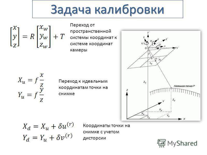 Задача калибровки Переход от пространственной системы координат к системе координат камеры Переход к идеальным координатам точки на снимке Координаты точки на снимке с учетом дисторсии