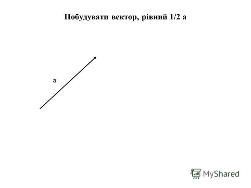 Побудувати вектор, рівний 1/2 а а