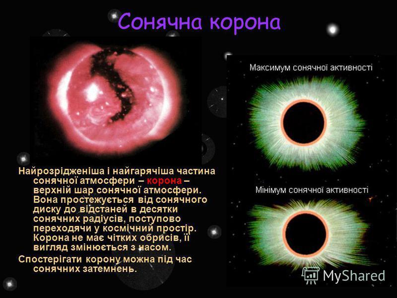 Сонячна корона Найрозрідженіша і найгарячіша частина сонячної атмосфери – корона – верхній шар сонячної атмосфери. Вона простежується від сонячного диску до відстаней в десятки сонячних радіусів, поступово переходячи у космічний простір. Корона не ма