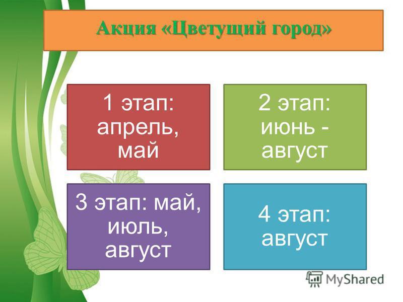 Акция «Цветущий город» 1 этап: апрель, май 2 этап: июнь - август 3 этап: май, июль, август 4 этап: август