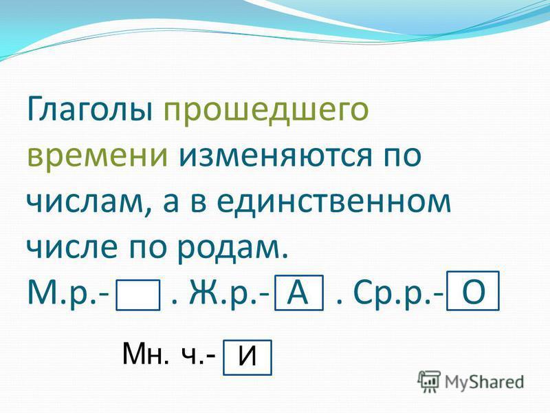 А Глаголы прошедшего времени изменяются по числам, а в единственном числе по родам. М.р.-. Ж.р.- А. Ср.р.- О Мн. ч.- И