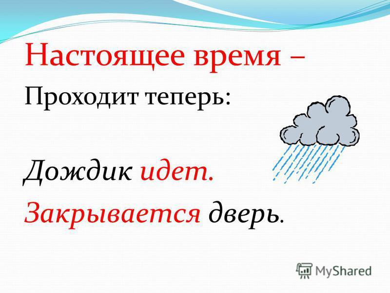 Настоящее время – Проходит теперь: Дождик идет. Закрывается дверь.