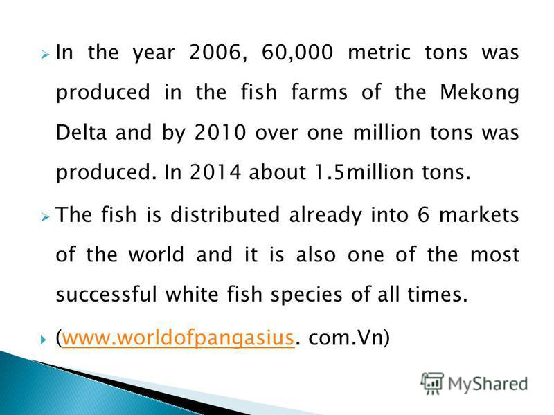 In the year 2006, 60,000 metric tons was produced in the fish farms of the Mekong Delta and by 2010 over one million tons was produced. In 2014 about 1.5million tons. The fish is distributed already into 6 markets of the world and it is also one of t