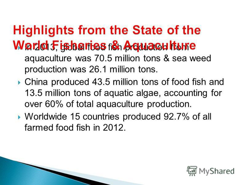 In 2013, global food fish production from aquaculture was 70.5 million tons & sea weed production was 26.1 million tons. China produced 43.5 million tons of food fish and 13.5 million tons of aquatic algae, accounting for over 60% of total aquacultur