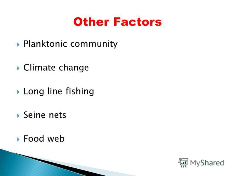 Planktonic community Climate change Long line fishing Seine nets Food web