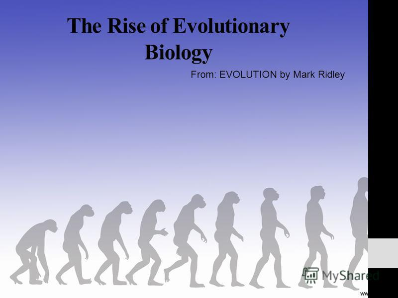 The Rise of Evolutionary Biology From: EVOLUTION by Mark Ridley