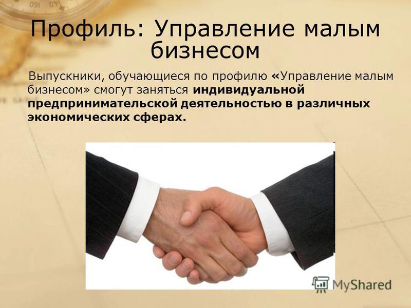 Профиль: Управление малым бизнесом Выпускники, обучающиеся по профилю «Управление малым бизнесом» смогут заняться индивидуальной предпринимательской деятельностью в различных экономических сферах.