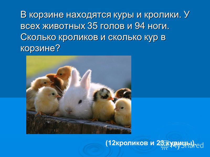 В корзине находятся куры и кролики. У всех животных 35 голов и 94 ноги. Сколько кроликов и сколько кур в корзине? (12 кроликов и 23 курицы).