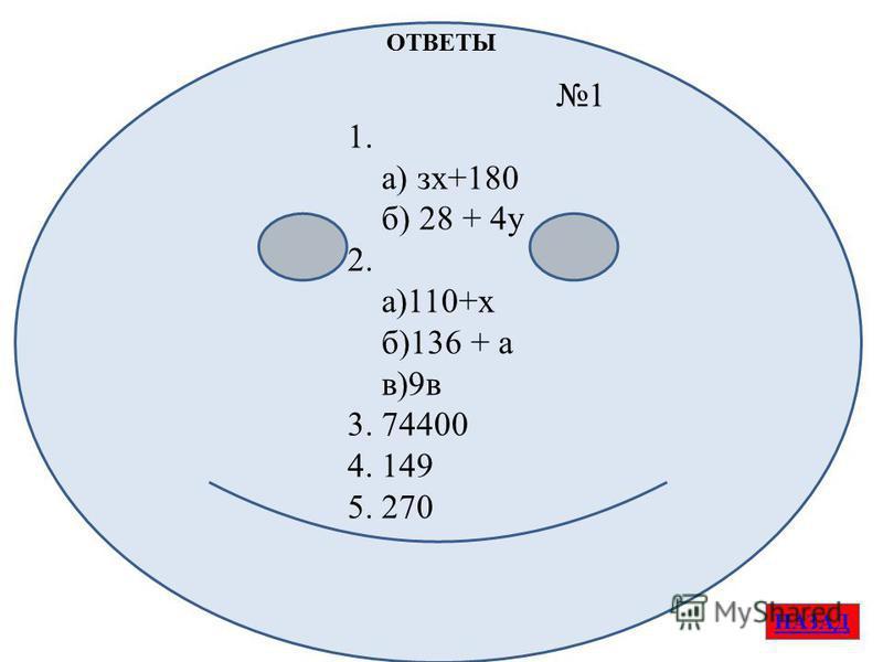 1 1. а) з х+180 б) 28 + 4 у 2. а)110+х б)136 + а в)9 в 3. 74400 4. 149 5. 270 ОТВЕТЫ НАЗАД