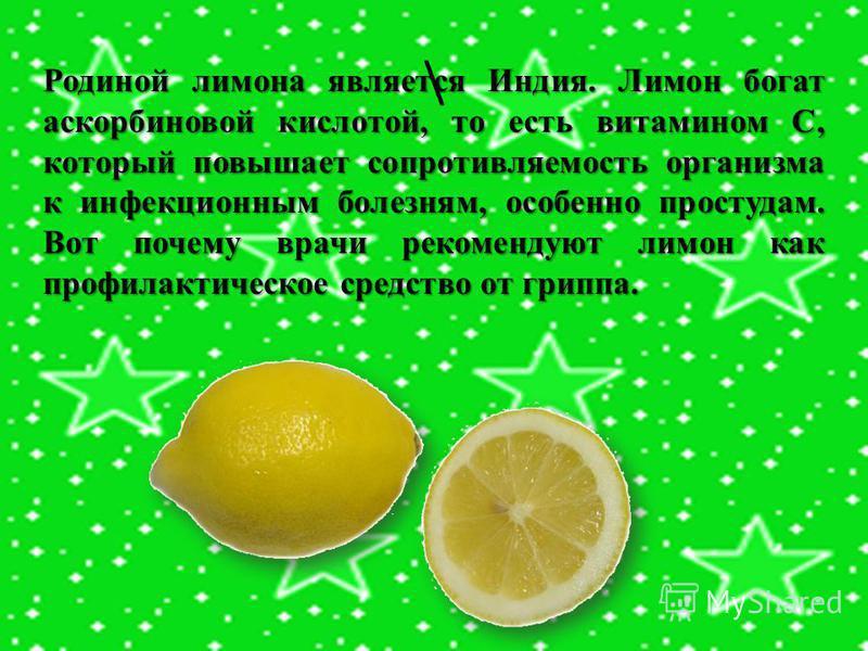 \ Родиной лимона является Индия. Лимон богат аскорбиновой кислотой, то есть витамином С, который повышает сопротивляемость организма к инфекционным болезням, особенно простудам. Вот почему врачи рекомендуют лимон как профилактическое средство от грип
