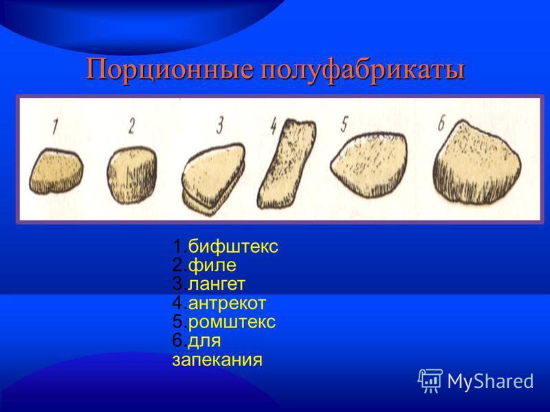 Порционные полуфабрикаты 1. бифштекс 2. филе 3. лангет 4. антрекот 5. ромштекс 6. для запекания