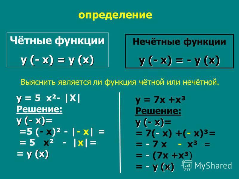 y = 7x +x³ Решение: y (- x) y (- x)= = 7(- x) +(- x)³= = - 7 x - x³ = = - (7x +x³) y (x) = - y (x) Чётные функции y (- x) = y (x) Нечётные функции y (- x) = - y (x) определение Выяснить является ли функция чётной или нечётной. y y = 5 x²- |X| Решение