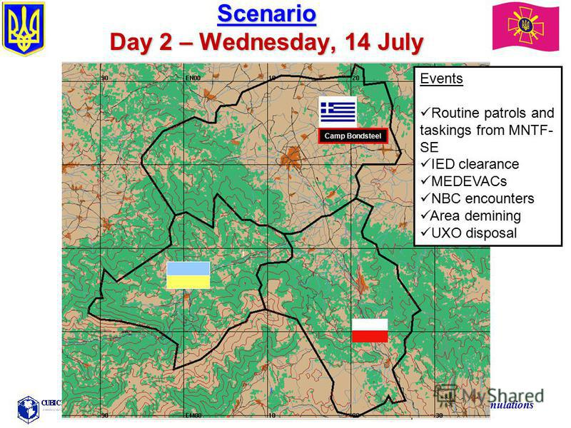 Training the Force Through Simulations Scenario Day 2 – Wednesday, 14 July Events Routine patrols and taskings from MNTF- SE IED clearance MEDEVACs NBC encounters Area demining UXO disposal Camp Bondsteel