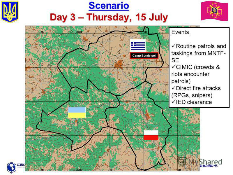 Training the Force Through Simulations Scenario Day 3 – Thursday, 15 July Events Routine patrols and taskings from MNTF- SE CIMIC (crowds & riots encounter patrols) Direct fire attacks (RPGs, snipers) IED clearance Camp Bondsteel