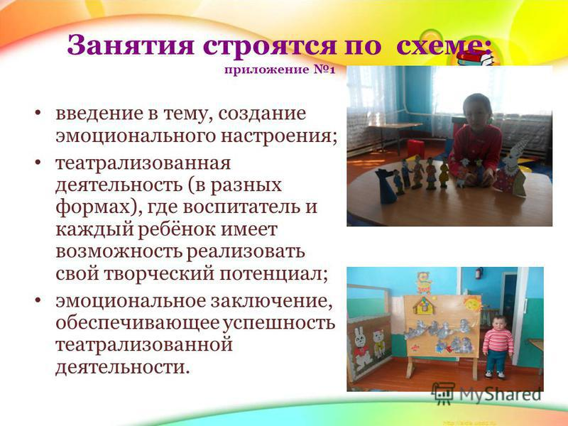 Занятия строятся по схеме: приложение 1 введение в тему, создание эмоционального настроения; театрализованная деятельность (в разных формах), где воспитатель и каждый ребёнок имеет возможность реализовать свой творческий потенциал; эмоциональное закл