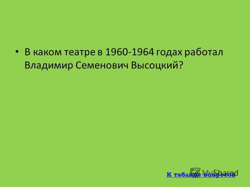 Как звали вторую жену Владимира Высоцкого? Людмила Абрамова К таблице вопросов
