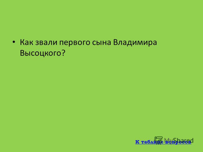 В каком театре в 1960-1964 годах работал Владимир Семенович Высоцкий? Театр имени А.С.Пушкина К таблице вопросов