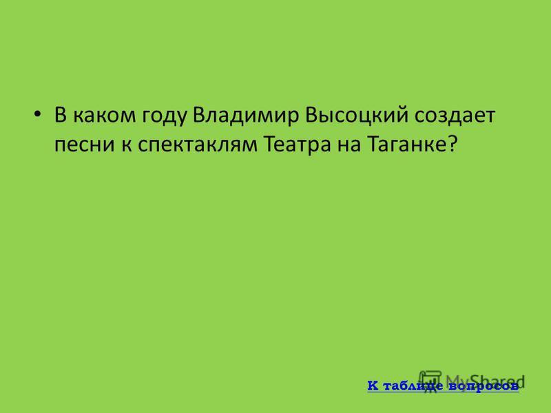 Что сказал Игорь Кохановский о знаменитой песне Высоцкого «Подводная лодка»? Подводная лодка – это было уже всерьез К таблице вопросов