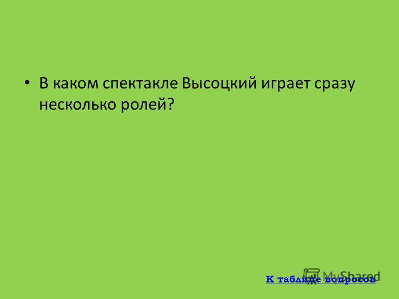 В каком году Владимир Высоцкий создает песни к спектаклям Театра на Таганке? 1965 К таблице вопросов