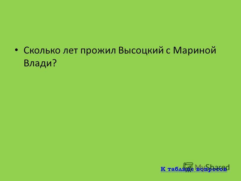 Как звали третью жену Владимира Высоцкого? Марина Влади К таблице вопросов