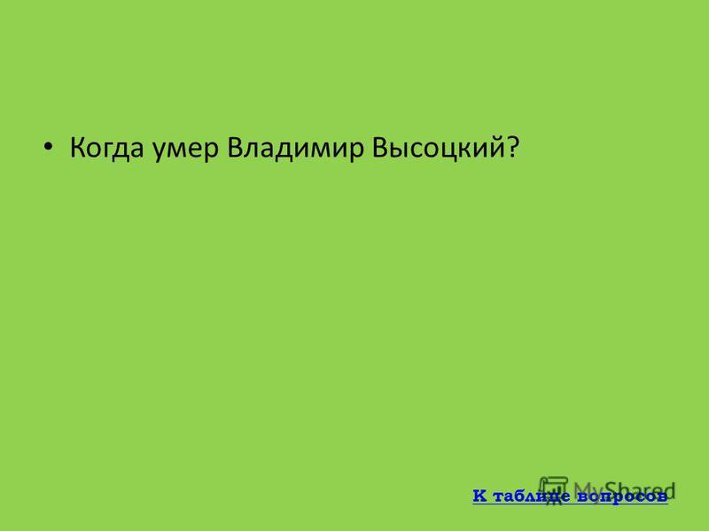 В каком спектакле Владимир Высоцкий сыграл последнюю главную роль? Преступление и наказание К таблице вопросов