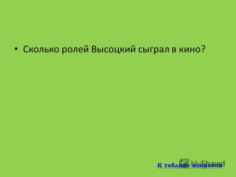 На каком кладбище был похоронен Владимир Высоцкий? На Ваганьковском кладбище К таблице вопросов