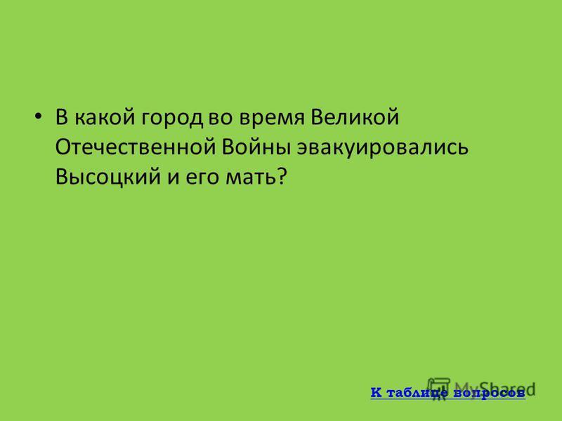 Назовите дату рождения Владимира Высоцкого 25 января 1938 г 25 января 1938 г К таблице вопросов
