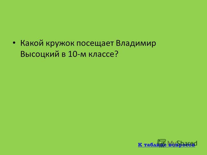 В каком году Высоцкий вернулся в Москву в годы войны? 1943 К таблице вопросов