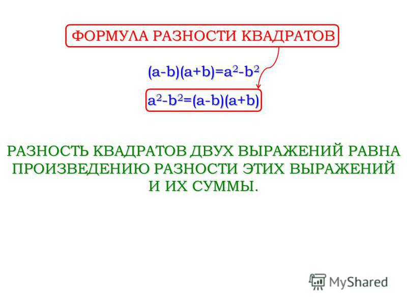 (a-b)(a+b)=a 2 -b 2 РАЗНОСТЬ КВАДРАТОВ ДВУХ ВЫРАЖЕНИЙ РАВНА ПРОИЗВЕДЕНИЮ РАЗНОСТИ ЭТИХ ВЫРАЖЕНИЙ И ИХ СУММЫ. a 2 -b 2 =(a-b)(a+b) ФОРМУЛА РАЗНОСТИ КВАДРАТОВ