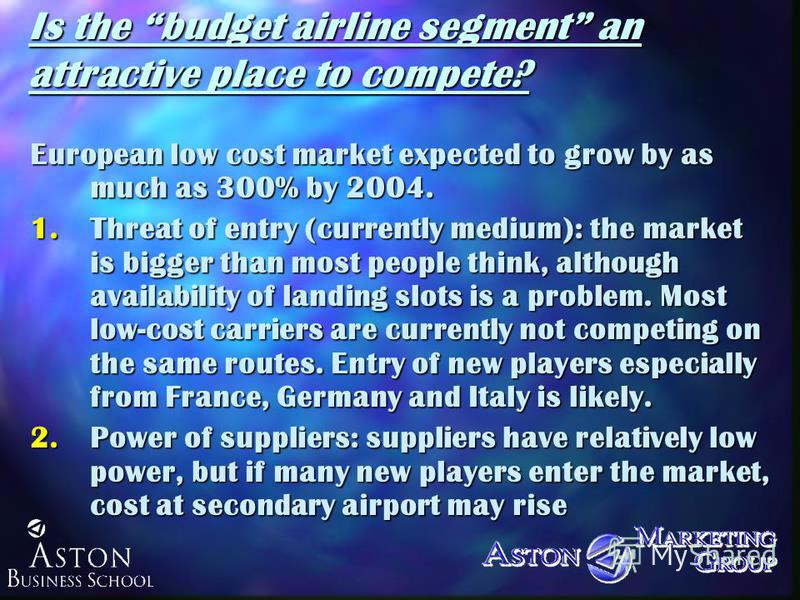 Is the budget airline segment an attractive place to compete? European low cost market expected to grow by as much as 300% by 2004. 1.Threat of entry (currently medium): the market is bigger than most people think, although availability of landing sl