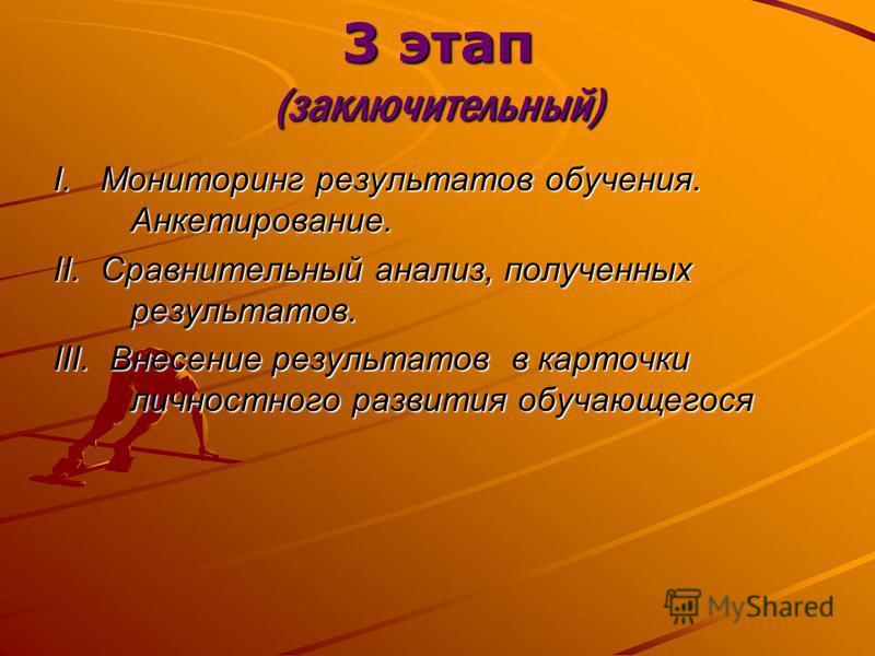 3 этап (заключительный) I. Мониторинг результатов обучения. Анкетирование. II. Сравнительный анализ, полученных результатов. III. Внесение результатов в карточки личностного развития обучающегося