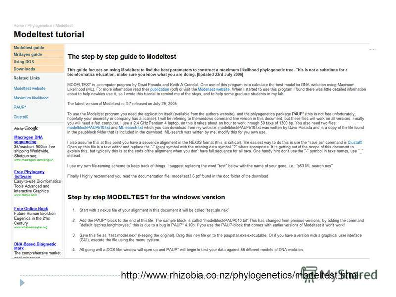 http://www.rhizobia.co.nz/phylogenetics/modeltest.html