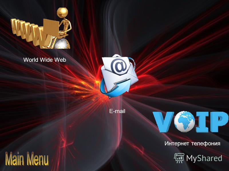 World Wide Web E-mail Интернет телефония Всеми́рная паути́на (англ. World Wide Web) распределенная система, предоставляющая доступ к связанным между собой документам, расположенным на различных компьютерах, подключенных к Интернету. Для обозначения В