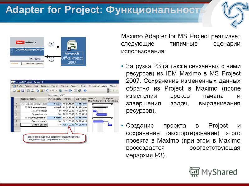 Adapter for Project: Функциональность Maximo Adapter for MS Project реализует следующие типичные сценарии использования: Загрузка РЗ (а также связанных с ними ресурсов) из IBM Maximo в MS Project 2007. Сохранение измененных данных обратно из Project